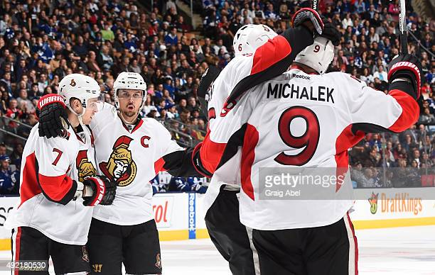Milan Michalek of the Ottawa Senators celebrates a second period goal during NHL game action against the Toronto Maple Leafs October 10 2015 at Air...