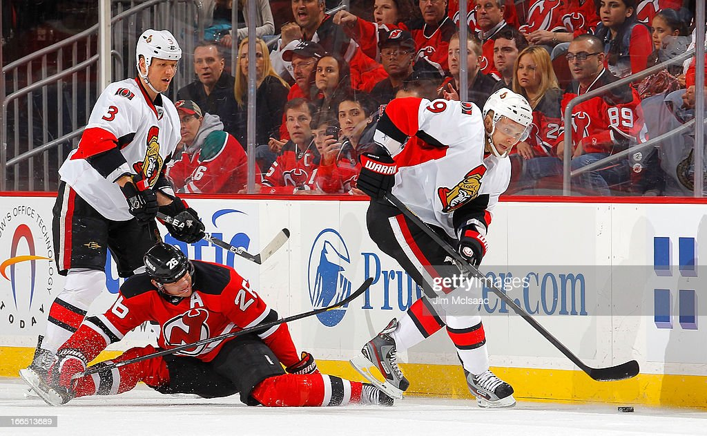 <a gi-track='captionPersonalityLinkClicked' href=/galleries/search?phrase=Milan+Michalek&family=editorial&specificpeople=544987 ng-click='$event.stopPropagation()'>Milan Michalek</a> #9 of the Ottawa Senators in action against the New Jersey Devils at the Prudential Center on April 12, 2013 in Newark, New Jersey. The Senators defeated the Devils 2-0.