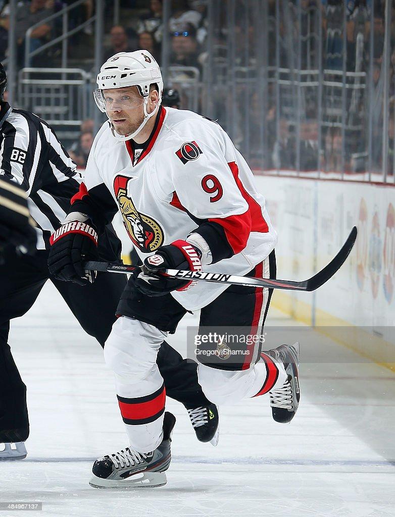 Milan Michalek #9 of the Ottawa Senators skates against the Pittsburgh Penguins on April 13, 2014 at Consol Energy Center in Pittsburgh, Pennsylvania.