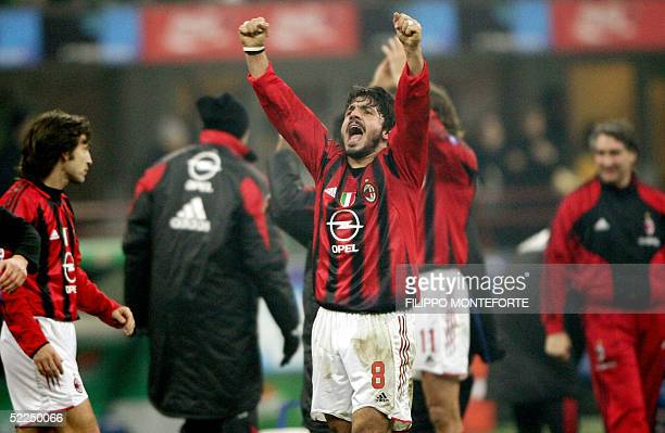 Milan midfielder Gennaro Gattuso exults at the end of an Italian serie A football match against Inter Milan at San Siro stadium in Milan 27 February...