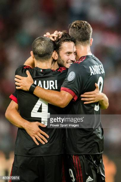 Milan Midfielder Hakan Calhanoglu celebrating his goal with his teammates during the 2017 International Champions Cup China match between FC Bayern...