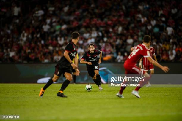 Milan Midfielder Hakan Calhanoglu celebrating in action during the 2017 International Champions Cup China match between FC Bayern and AC Milan at...
