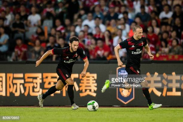 Milan Midfielder Hakan Calhanoglu in action during the 2017 International Champions Cup China match between FC Bayern and AC Milan at Universiade...