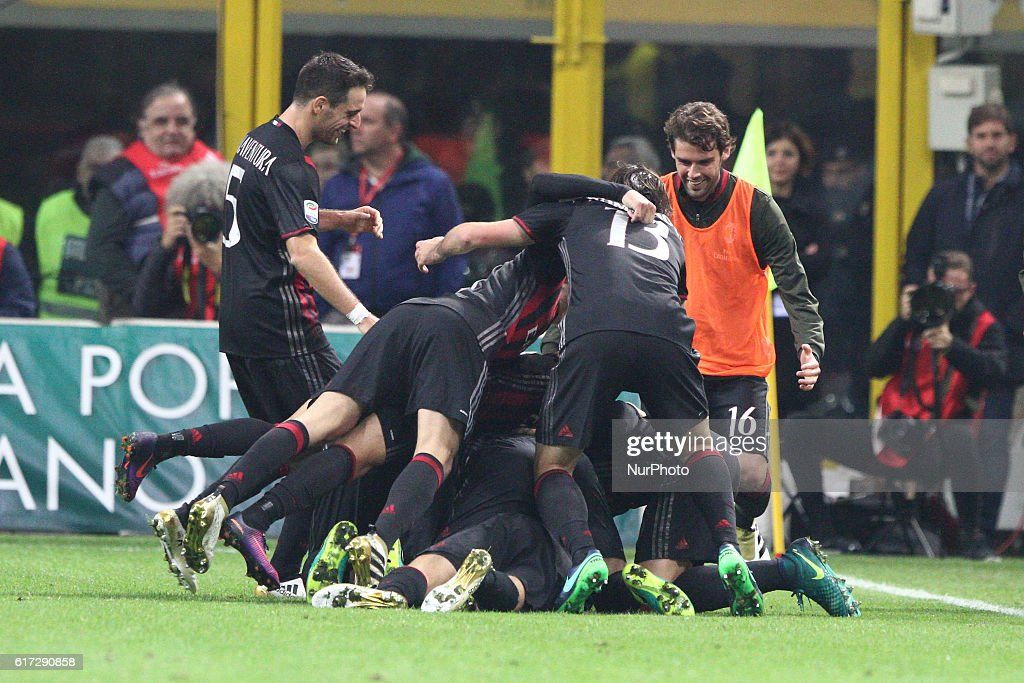 Milan midfielder Manuel Locatelli (73) celebrates with his teammates after scoring his goal during the Serie A football match n.9 MILAN - JUVENTUS on at the Stadio Giuseppe Meazza in Milan, Italy.