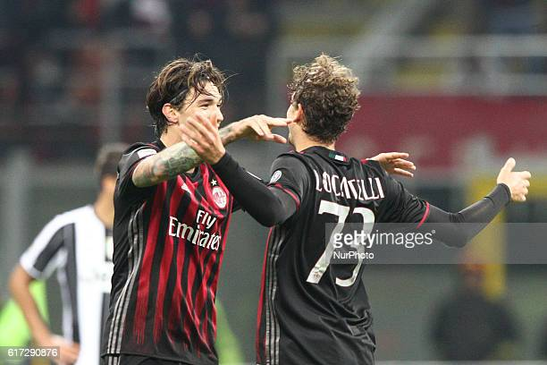 Milan midfielder Manuel Locatelli celebrates with Milan defender Alessio Romagnoli after scoring his goal during the Serie A football match n9 MILAN...