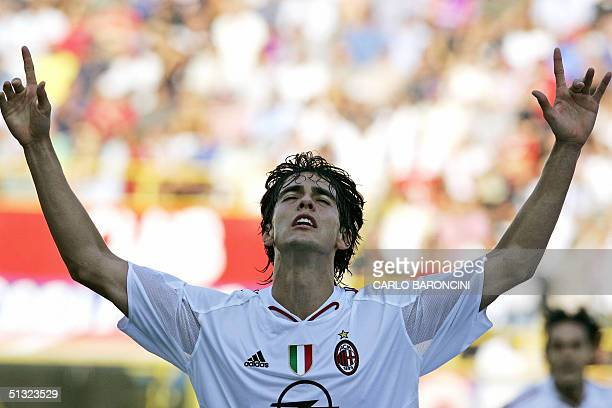 Milan midfielder Ricardo Leite Kaka celebrates after scores against Bologna during their Serie A football match at Dall'Ara Stadium in Bologna 19...