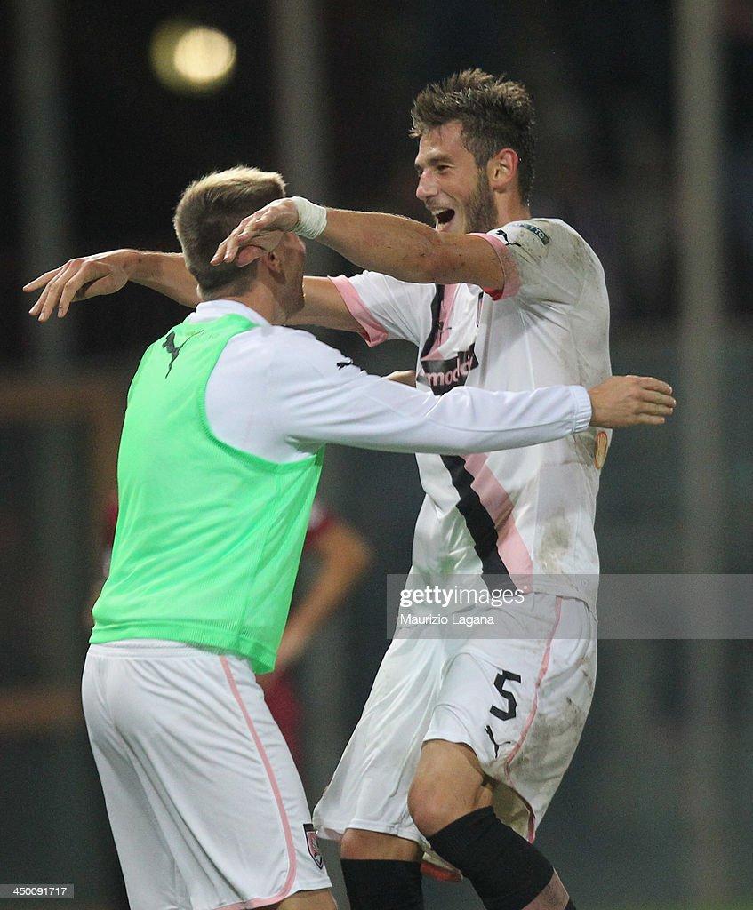 Milan Milanovic of Palermo celebrates after scoring the second goal during the Serie B match between Reggina Calcio and US Citta di Palermo at Stadio Oreste Granillo on November 16, 2013 in Reggio Calabria, Italy.