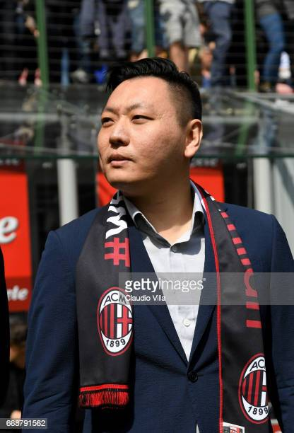Milan new board member David Han Li looks on prior to the Serie A match between FC Internazionale and AC Milan at Stadio Giuseppe Meazza on April 15...