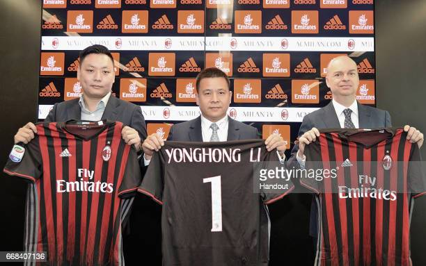 AC Milan new board member David Han Li new AC Milan Owner and President Yonghong Li new AC Milan CEO Marco Fassone attend a press confernce to unveil...
