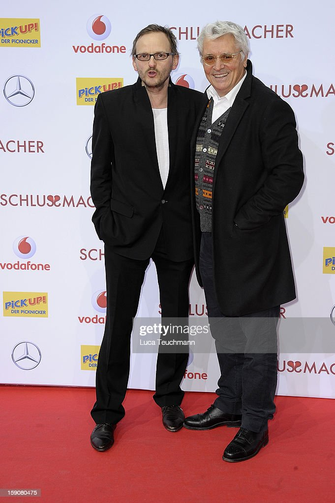 Milan Peschel and <a gi-track='captionPersonalityLinkClicked' href=/galleries/search?phrase=Henry+Huebchen&family=editorial&specificpeople=636052 ng-click='$event.stopPropagation()'>Henry Huebchen</a> attend the 'Der Schlussmacher' Berlin Premiere at Cinestar Potsdamer Platz on January 7, 2013 in Berlin, Germany.