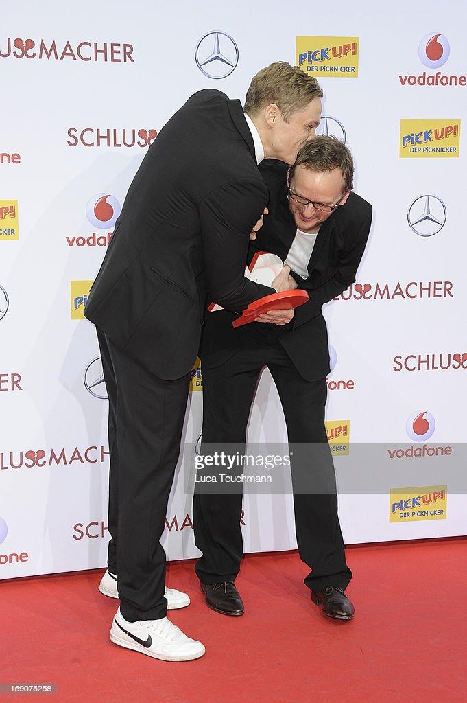 Milan Peschel and Matthias Schweighoefer attend the 'Der Schlussmacher' Berlin Premiere at Cinestar Potsdamer Platz on January 7, 2013 in Berlin, Germany.