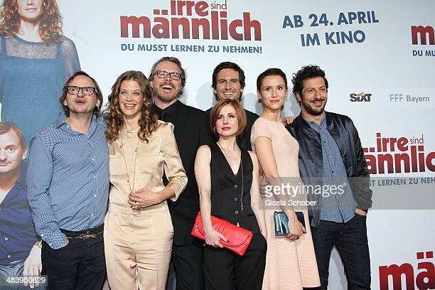 Milan Peschel Marie Baeumer director Anno Saul Tom Beck Josefine Preuss Peri Baumeister Fahri Yardim attend the premiere of the film 'Irre sind...