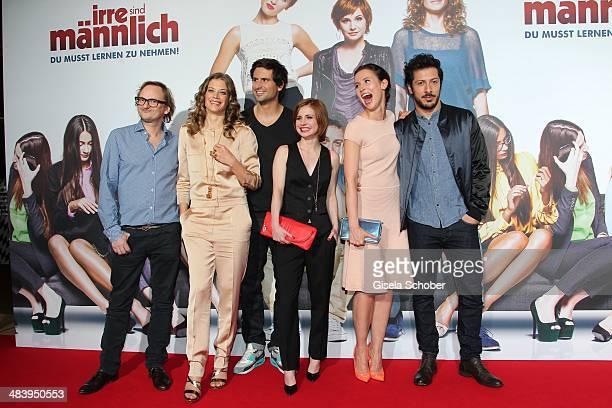 Milan Peschel Marie Baeumer Tom Beck Josefine Preuss Peri Baumeister Fahri Yardim attend the premiere of the film 'Irre sind maennlich' at Mathaeser...