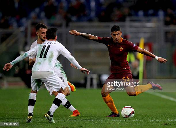 Milan Petrzela of FC Viktoria Plzen competes for the ball with Emerson Palmieri of AS Roma during the UEFA Europa League match between AS Roma and FC...
