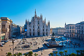 Milan Piazza Del Duomo and Duomo Di Milano at morning in blue sky, Milan, Italy.
