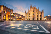 Cityscape image of Milan, Italy with Milan Cathedral during sunrise.