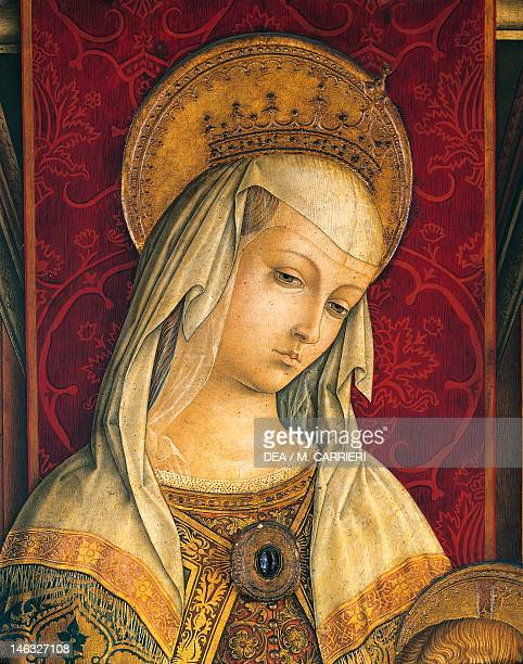 Milan Pinacoteca Di Brera Madonna's face detail from the central panel of the Triptych of Camerino by Carlo Crivelli tempera on wood