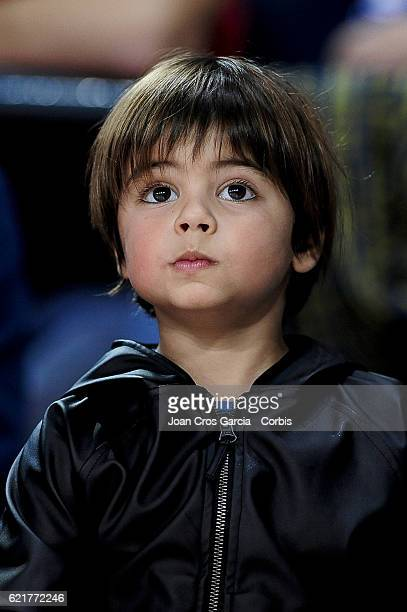 Milan Piqué the son of Gerard Piqué and Shakira attending the basketball Spanish Endesa League match between FC Barcelona Lassa and Real Madrid on...