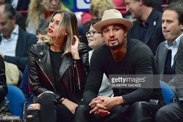 AC Milan player KevinPrince Boateng and his girlfriend Melissa Satta attend the NBA Gloabal Games match Emporio Armani Milano VS Boston Celtic on...