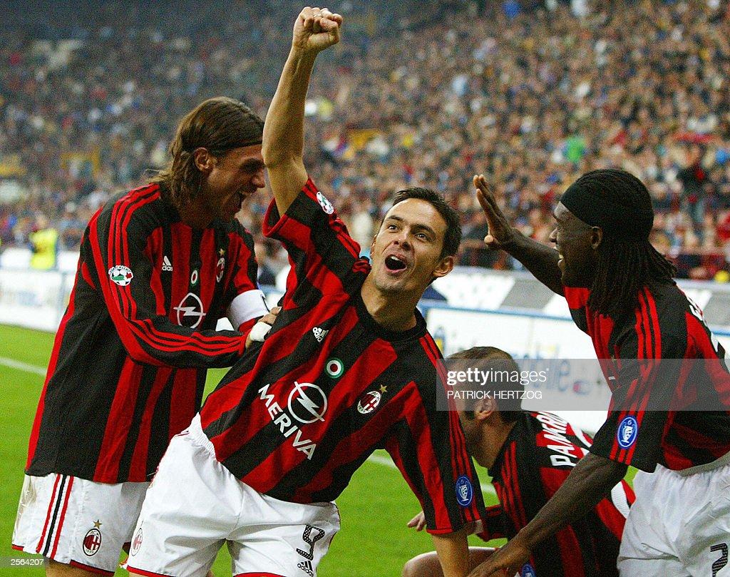 Milan players L R captain Paolo Maldi