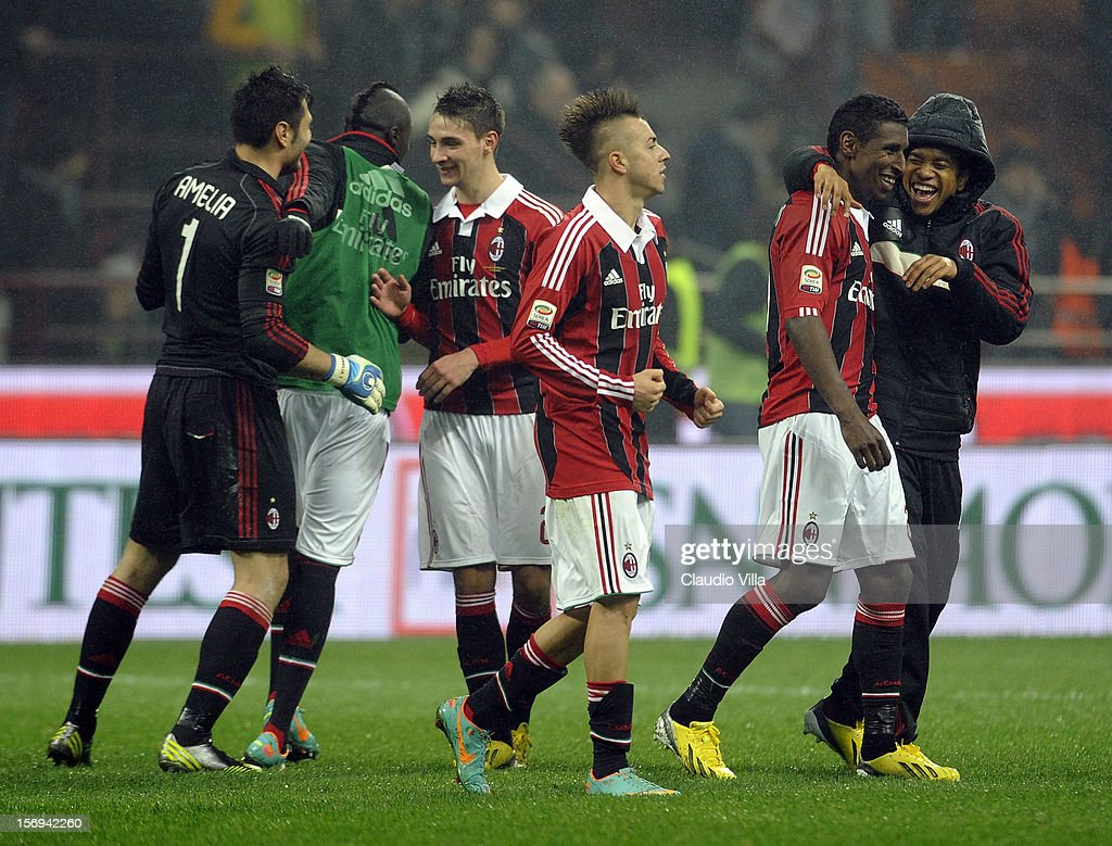 AC Milan players celebrate victory at the end of the Serie A match between AC Milan and Juventus FC at San Siro Stadium on November 25, 2012 in Milan, Italy.