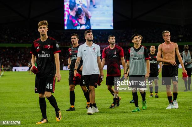 Milan players celebrating after winning Bayern during the 2017 International Champions Cup China match between FC Bayern and AC Milan at Universiade...