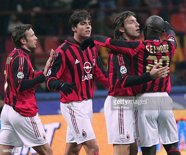 Milan players Kaka Andrea Pirlo and Clarence Seedorf celebrate after Andrei Shevchenko's goal of Parma celebrates his goal during the Serie A match...