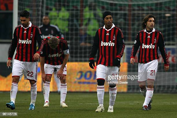 Milan players L to R Marco BorrielloMassimo AmbrosiniRonaldhino and Andrea Pirlo look dejected after conceding the second goal during the Serie A...
