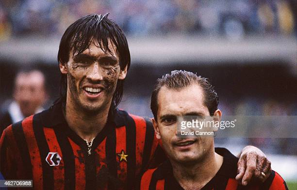 Milan players Mark Hateley and Ray Wilkins pictured after a Serie A match between Napoli and AC Milan at the San Paolo Stadium in 1984 in Naples Italy