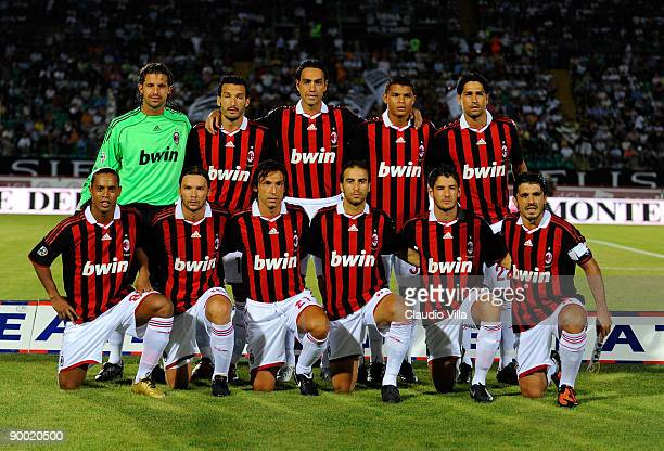 Milan players pose during the Serie A match between Siena and AC Milan at Artemio Franchi Montepaschi Arena Stadium on August 22 2009 in Siena Italy