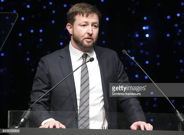 Milan Popelka speaks onstage during 69th Writers Guild Awards New York Ceremony at Edison Ballroom on February 19 2017 in New York City