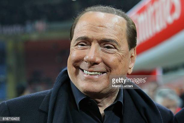 Milan president Silvio Berlusconi looks on before the Serie A match between AC Milan and SS Lazio at Stadio Giuseppe Meazza on March 20 2016 in Milan...