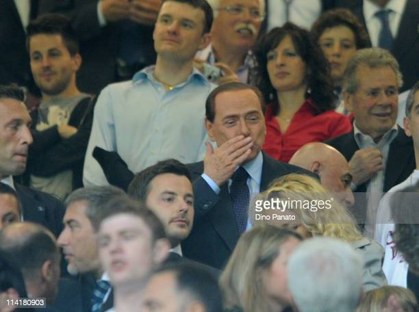 Milan President Silvio Berlusconi looks on during the Serie A match between AC Milan and Cagliari Calcio at Stadio Giuseppe Meazza on May 14 2011 in...