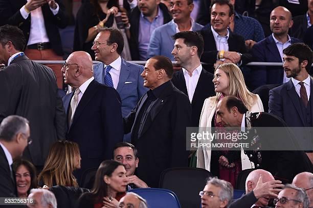 AC Milan president Silvio Berlusconi vicepresident Adriano Galliani and Barbara Berlusconi member of the board of AC Milan arrive for the Italian Tim...