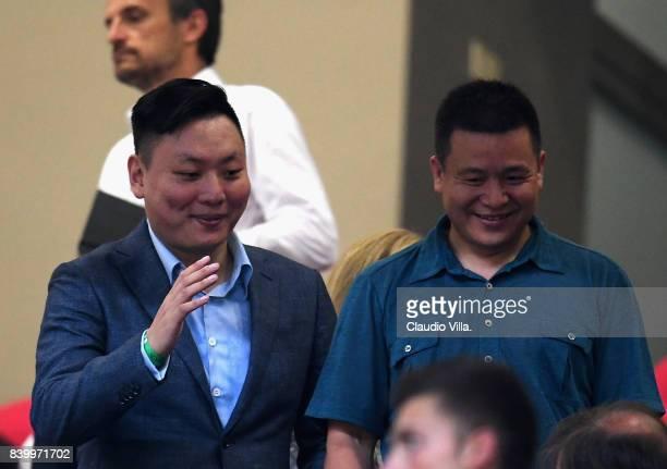 Milan President Yonghong Li and AC Milan board member David Han Li attend the Serie A match between AC Milan and Cagliari Calcio at Stadio Giuseppe...