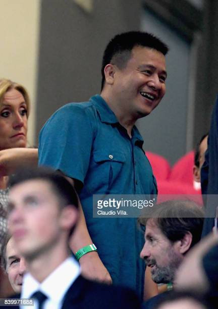 Milan President Yonghong Li looks on during the Serie A match between AC Milan and Cagliari Calcio at Stadio Giuseppe Meazza on August 27 2017 in...