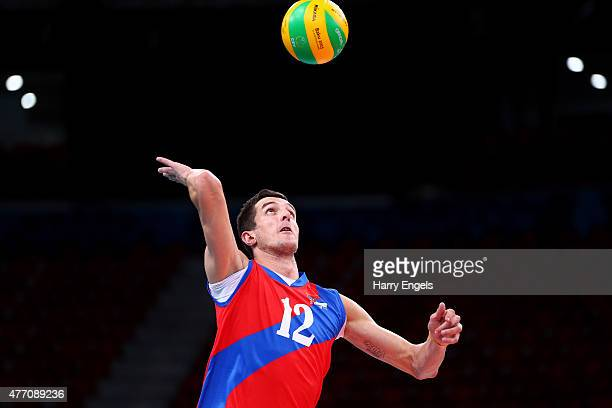 Milan Rasic of Serbia serves during the Men's Preliminary Pool A match between Serbia and Turkey on day two of the Baku 2015 European Games at...