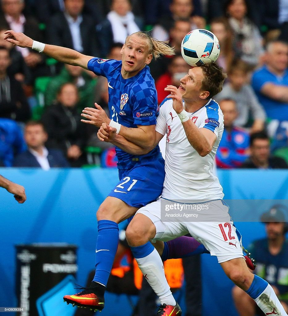 Milan Skoda of Czech Republic in action against Domagoj Vida of Croatia during the UEFA Euro 2016 Group D match between Czech Republic and Croatia at...
