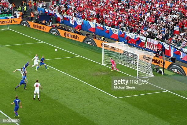 Milan Skoda of Czech Republic scores his sides first goal past Danijel Subasic of Croatia during the UEFA EURO 2016 Group D match between Czech...