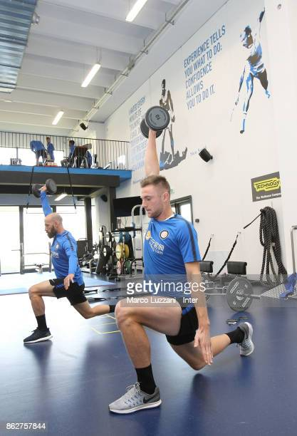 Milan Skriniar and Borja Valero of FC Internazionale train in the gym during the FC Internazionale training session at the club's training ground...