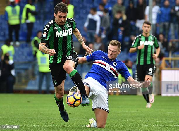 Milan Skriniar and Francesco Acerbi during the Serie A match between UC Sampdoria and US Sassuolo at Stadio Luigi Ferraris on November 20 2016 in...