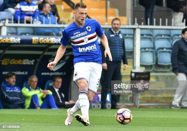 Milan Skriniar in action during the Serie A match between UC Sampdoria and FC Crotone at Stadio Luigi Ferraris on April 23 2017 in Genoa Italy