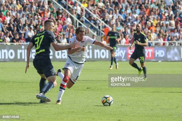 Milan Skriniar Inter player and Marcus Rohden Crotone player during the Serie A match between FC Crotone and FC Internazionale FC Internazionale won...