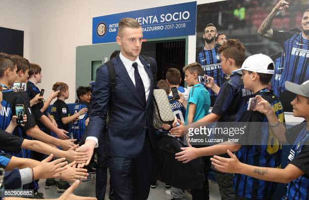 Milan Skriniar of FC Internazionale arrives prior to the Serie A match between FC Internazionale and Genoa CFC at Stadio Giuseppe Meazza on September...