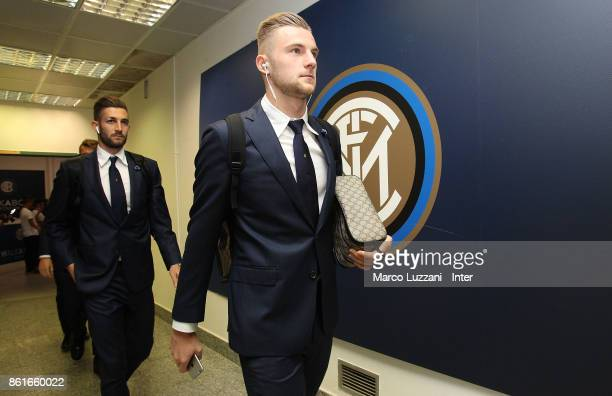 Milan Skriniar of FC Internazionale arrives prior to the Serie A match between FC Internazionale and AC Milan at Stadio Giuseppe Meazza on October 15...