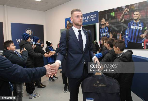 Milan Skriniar of FC Internazionale arrives prior to the Serie A match between FC Internazionale and Atalanta BC at Stadio Giuseppe Meazza on...