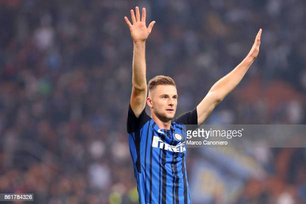 Milan Skriniar of FC Internazionale celebrate at the end of the Serie A match between FC Internazionale and AC Milan Fc Internazionale wins 32 over...