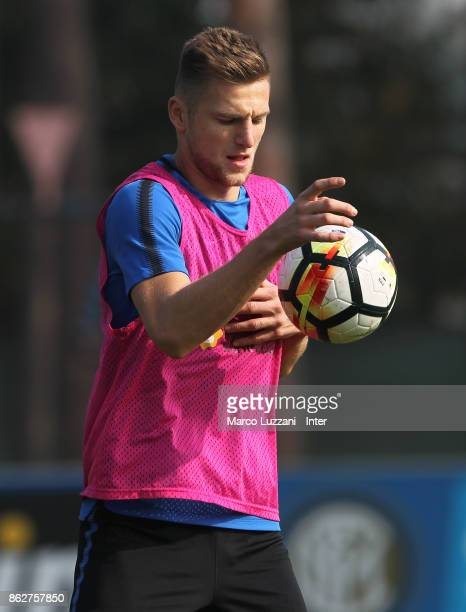 Milan Skriniar of FC Internazionale controls the ball during the FC Internazionale training session at the club's training ground Suning Training...