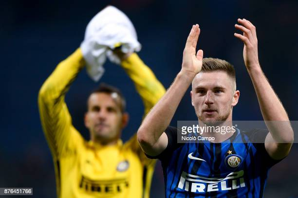 Milan Skriniar of FC Internazionale greets the supporters at the end of the Serie A football match between FC Internazionale and Atalanta BC FC...