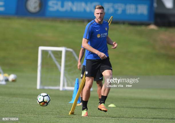 Milan Skriniar of FC Internazionale in action during a training session at Suning Training Center at Appiano Gentile on August 3 2017 in Como Italy